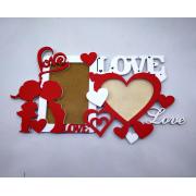 Деревянная фоторамка Love с сердечками