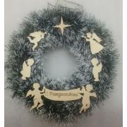 Рождественский венок №1  26 см Ангелы зелено - белый