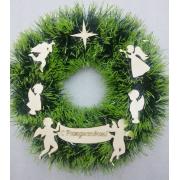 Рождественский венок №1 26 см Ангелы зелено - салатовый