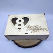 """Деревянная коробка для подарка """"8 Марта: Поздравляем!"""""""
