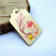 "Деревянная бирка на подарок ""Сакура"""