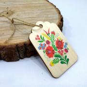 "Деревянная бирка на подарок ""Весенний узор"""