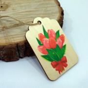 """Деревянная бирка на подарок """"Букет тюльпанов"""""""