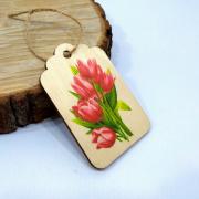 """Деревянная бирка на подарок """"Тюльпаны"""""""