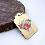 "Деревянная бирка на подарок ""Корзина цветов"""