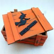Оранжевый ящик для подарков с ведьмой