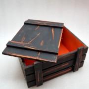 Винтажный черный ящик для подарков с крышкой