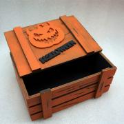Винтажный оранжевый ящик для подарков с тыквой