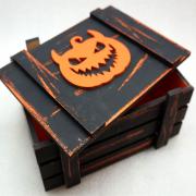 Винтажный черный ящик для подарков с тыквой