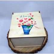 """Квадратная коробка для подарков """"I Love You"""""""