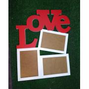 """Деревянная фоторамка """"LOVE"""" на 3 фото"""