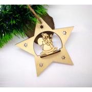 Елочная игрушка Звезда с Дедом Морозом