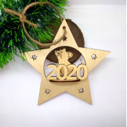 Елочная игрушка Звезда с Мышкой 2020