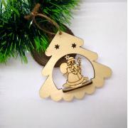 Елочная игрушка Елочка с Дедом Морозом