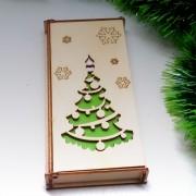 """Деревянный конверт для денег """"Новогодняя елка"""""""