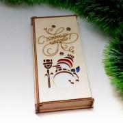 """Деревянный конверт для денег """"Снеговичок"""""""