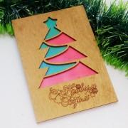 """Новогодняя открытка из дерева """"Елка"""""""