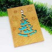 """Новогодняя открытка из дерева """"Елочка"""""""