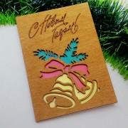 """Новогодняя открытка из дерева """"Колокольчики"""""""