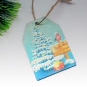 """Новогодняя бирка на подарок """"Зимний лес"""""""