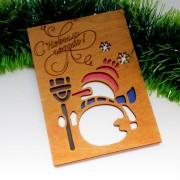 """Новогодняя открытка из дерева """"Снеговичок"""""""