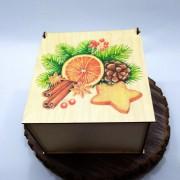 """Квадратная коробка с рисунком """"Рождественские специи"""""""