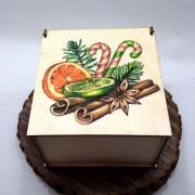 """Квадратная коробка с рисунком """"Новогодние ароматы"""""""