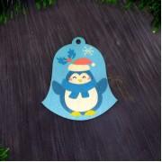 """Елочная игрушка """"Колокольчик с пингвином"""""""