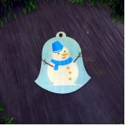 """Елочная игрушка """"Колокольчик снеговичок"""""""