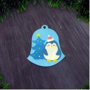 """Елочная игрушка """"Колокольчик пингвиненок"""""""