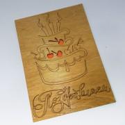 """Открытка из дерева """"Поздравляем с тортиком """""""