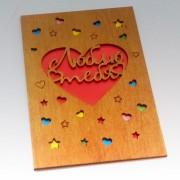 """Деревянная открытка """"Люблю тебя"""""""