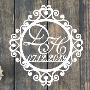 "Свадебный герб ""Завитушки и сердечки"""