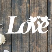 Деревянное слово для фотосессии Love с птичками