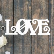 Деревянное слово для фотосессии Love с завитушками