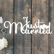 Деревянное слово для фотосессии Just Married с сердечками