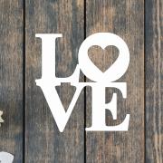 Деревянное слово для фотосессии LOVE с сердечком