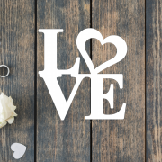 Деревянное слово для фотосессии LOVE сердечко
