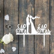 """Свадебный топпер """"MR&MRS"""" с женихом и невестой"""