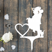 Свадебный топпер с датой свадьбы и кошечкой
