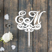 Свадебный топпер с монограммой и завитушками