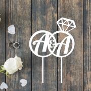 Свадебный топпер с инициалами и кольцом