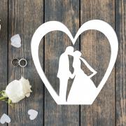 """Свадебная табличка """"Молодые в сердечке"""""""